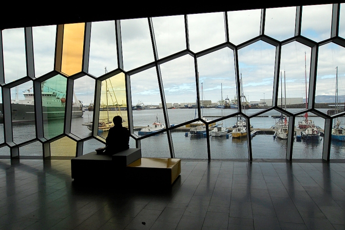 The harbour view from inside Harpa