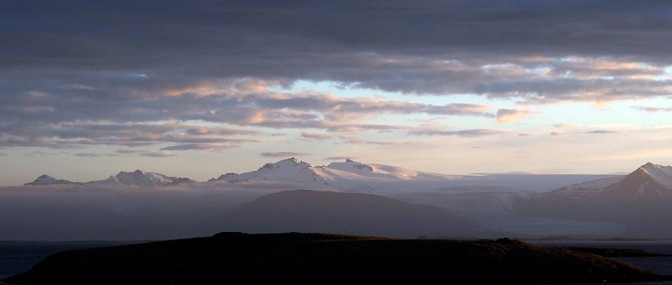 The view of Vatnajökull from Höfn at sunset