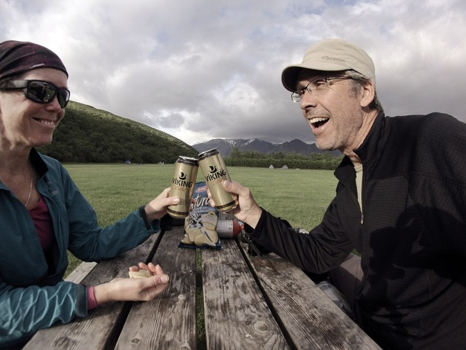 Celebrating our arrival at sunny Skaftafell