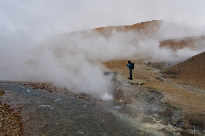 Jan among the steam vents at Kerlingerfjšll