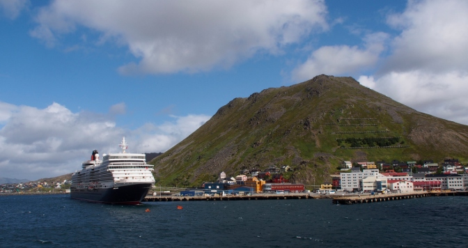 The Queen Elizabeth moored at HonningsvåŒg.
