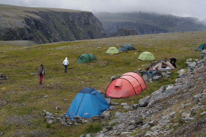 A small tent camp of those of us crazy enough to camp at this inhospitable place.
