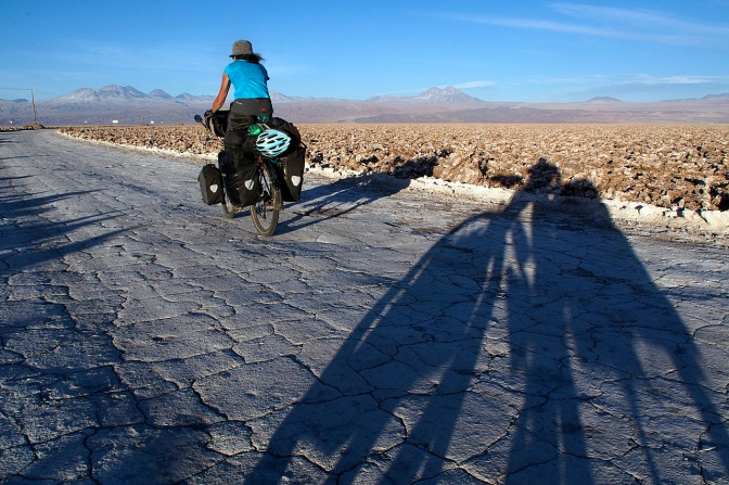 Cruising the Salar de Atacama as the sun goes down.