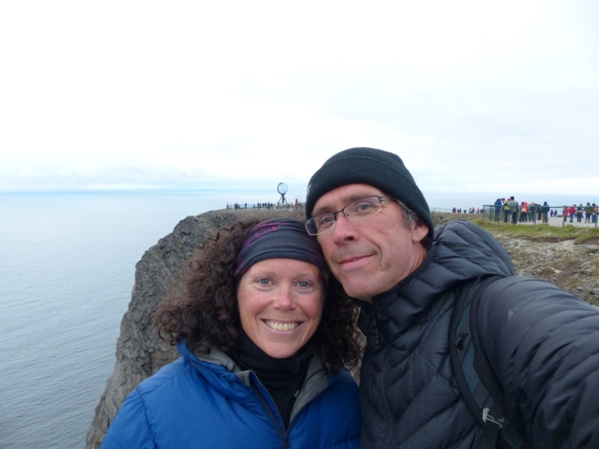 Us at midnight at Nordkapp. Yes, those are down jackets! No sun.