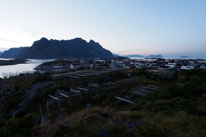 The view of Henningsvær after midnight from our 'wild' camp site.