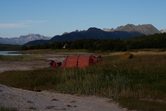 Our beach camp on Amnøya.