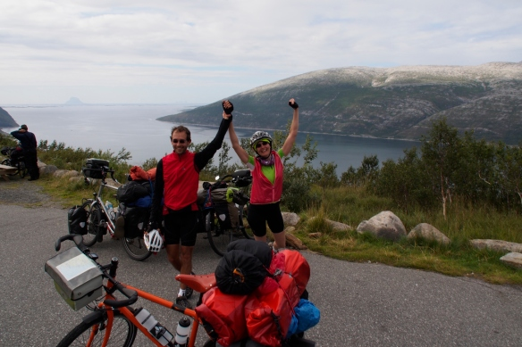 Alba and Gérard celebrate completing the climb above Nesna. See the video of our descent in the previous post.