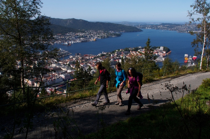 Hiking up Fløyen in Bergen.