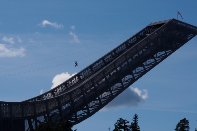 The ski jump at Holmenkollen with a zip line from top to bottom.