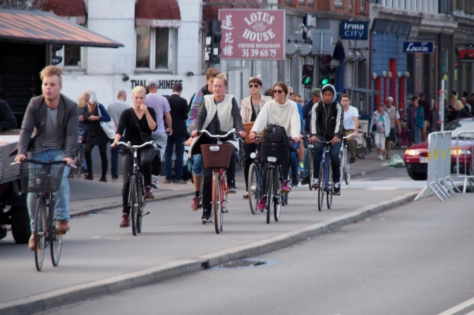 Cycling in Copenhagen.