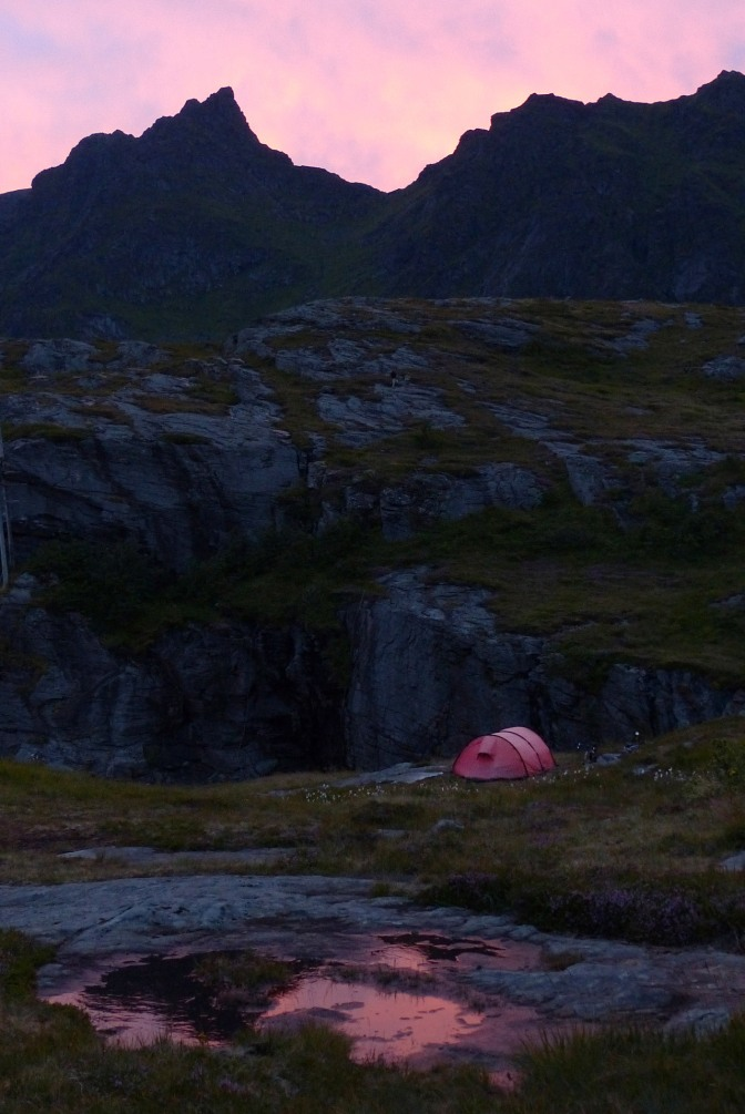 Our camp near Å under a pink sky.