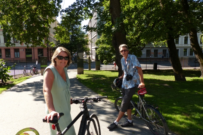 Tharan and Paul while cycling in Oslo.