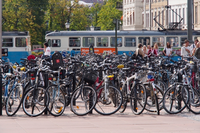 Bicycle parkade at Göteborg Central station.