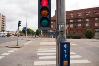 Cyclist-dedicated traffic lights in Göteborg.