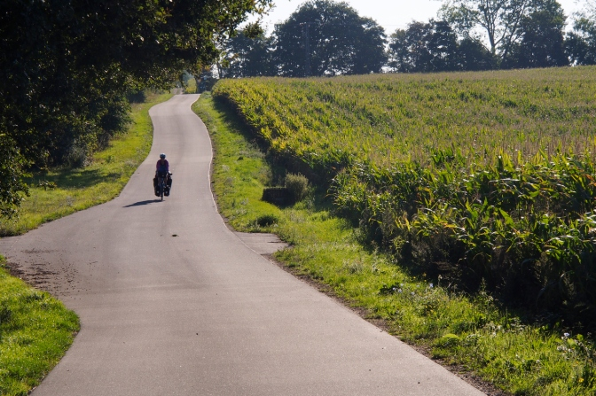 Cycling along a country road in northern Germany south of Rostock.