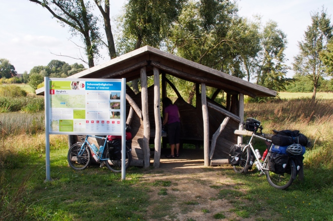 The cycle routes we followed in Germany have many shelters like this one along the way, complete with route info and noteworthy things to see in the region.