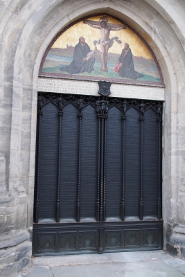 The church door to which Luther nailed his 95 theses and so beginning the Reformation in 1517. The theses are inscribed on the metal cladding of the door.