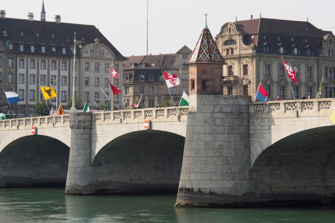 One of the bridges crossing the Rhine in Basel.