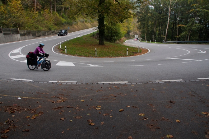 Jan negotiating one of the hairpins on the way to Auer.
