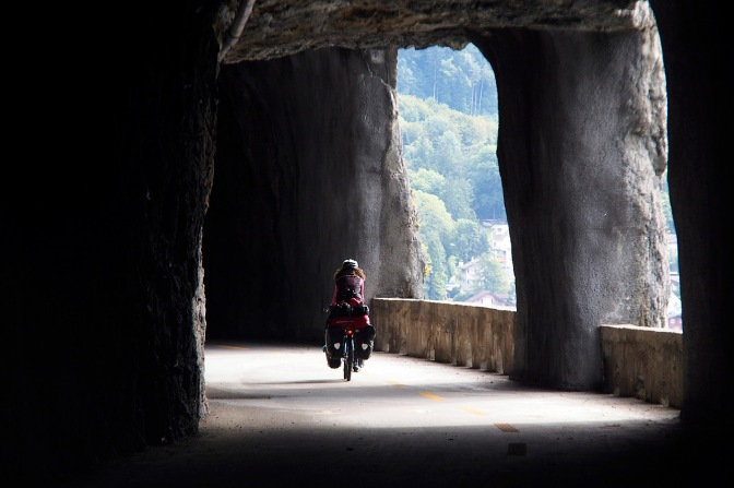Jan cycling through one of the tunnels.