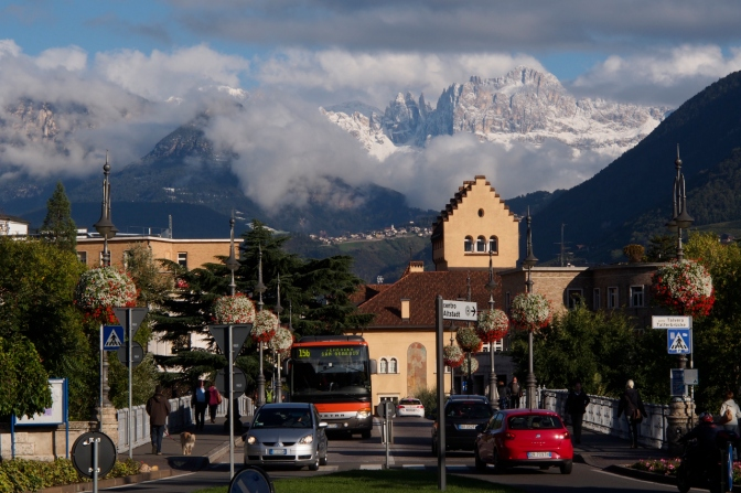 Bolzano with the snowy backdrop of the Dolomiti.
