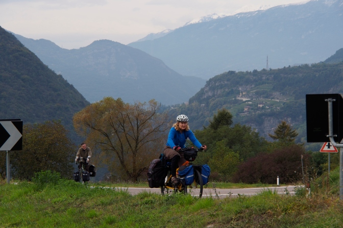 Ivona and Gary gaining the top of a climb out of Trento on the Via Santa Maria.