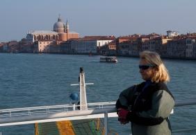 Ivona on the ferry to Punta Sabbioni.