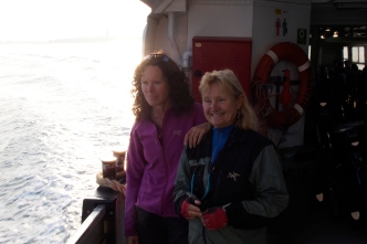 Jan and Ivona on the ferry to Punti Sabbioni.