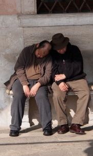 Having a nap near St. Mark's Square.