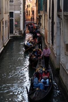Gondola jam in Venice.