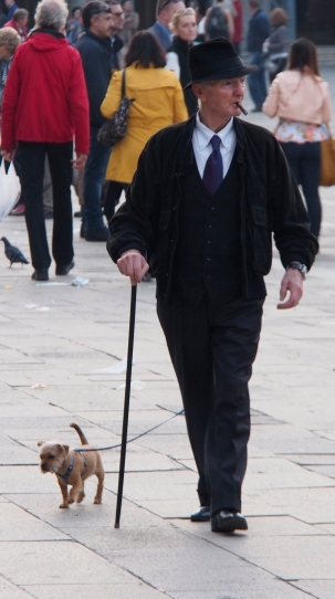 Walking the dog in Piazza San Marco.