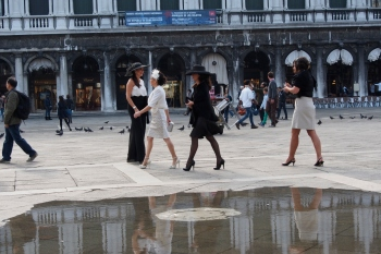 The well-heeled in Piazza San Marco.