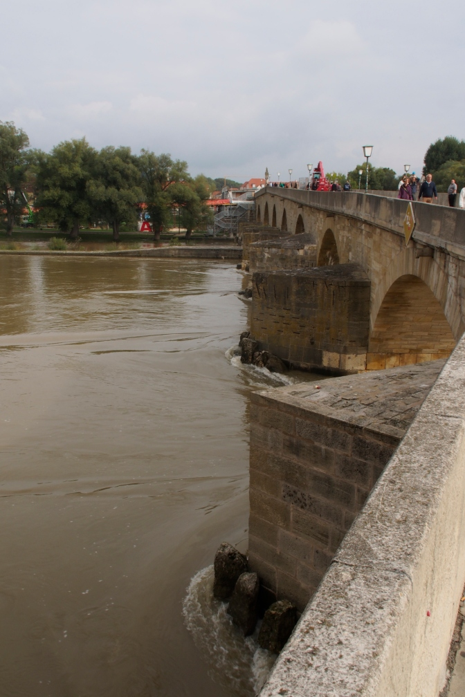 The stone bridge across the Danube at Regensburg.