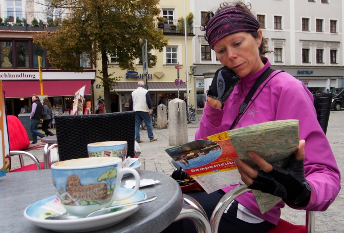 Jan in a pensive moment studying the route map over coffee in Regensburg.