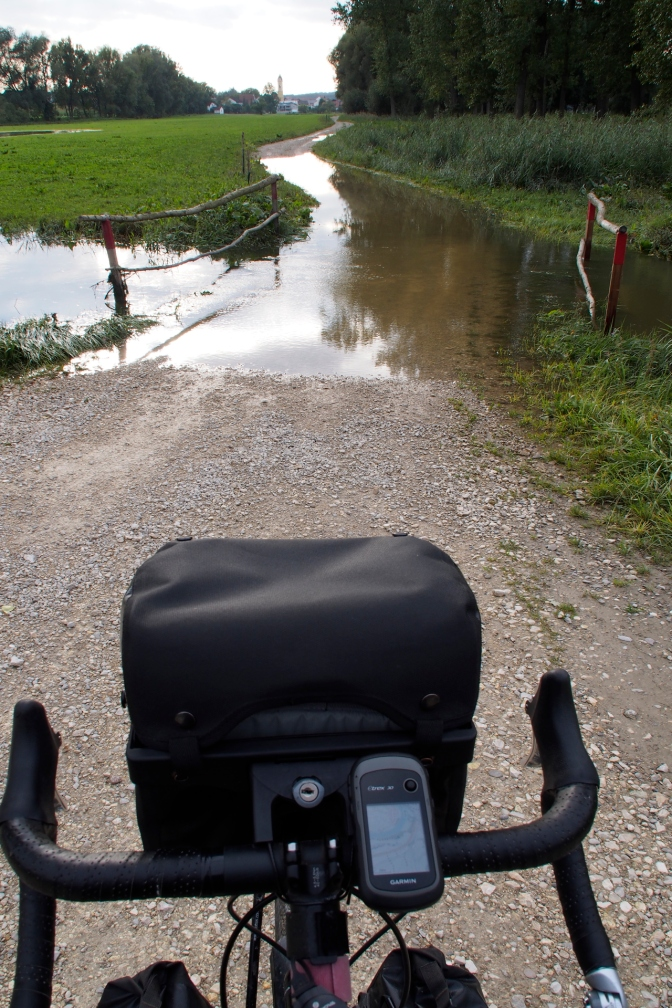 There is still evidence of flooding along the Donau. Our trail was a bit watery in places forcing a detour.