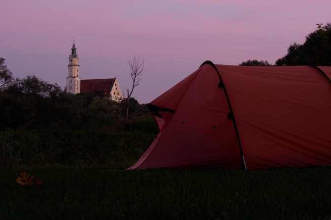 Our tent with the town's church in the background at sunset.
