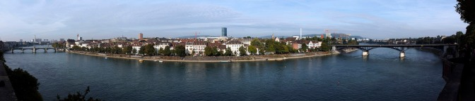 Panorama of Basel seen from the observation point at the Munster Cathedral.