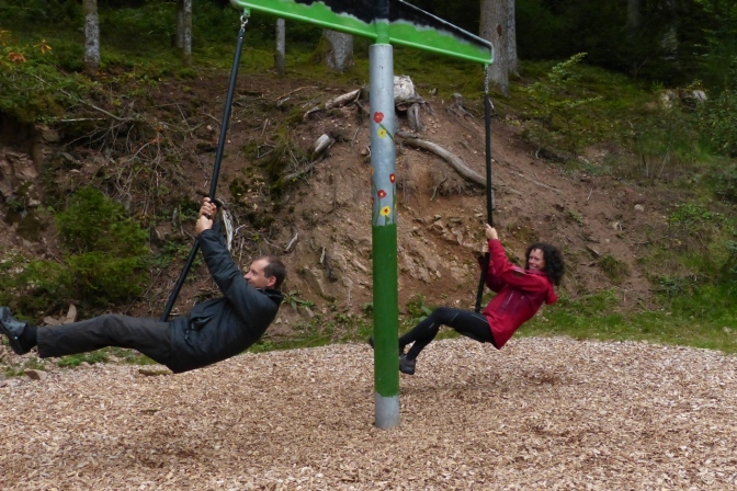 Jan and Tom on the swing.