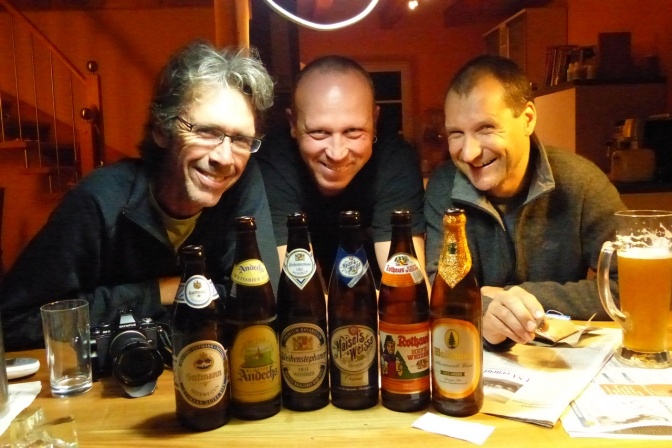 Paul, Thomas and Tom with some of the sampled weiß bier.