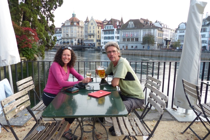 Having a drink in Luzern.