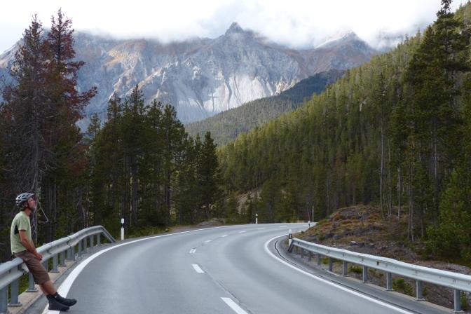 Paul admiring the Alps near Pass dal Fuorn.