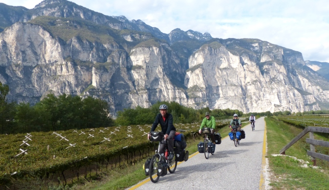 Riding south from Bolzano along the Adige River.