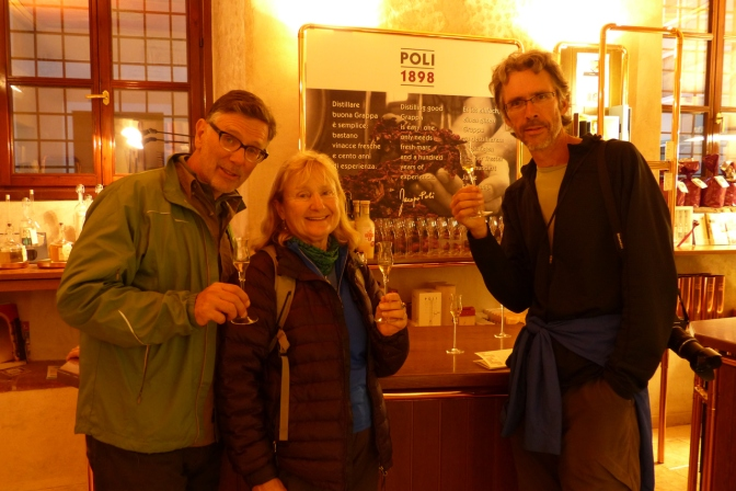Tasting the grappa in Bassano Del Grappa.