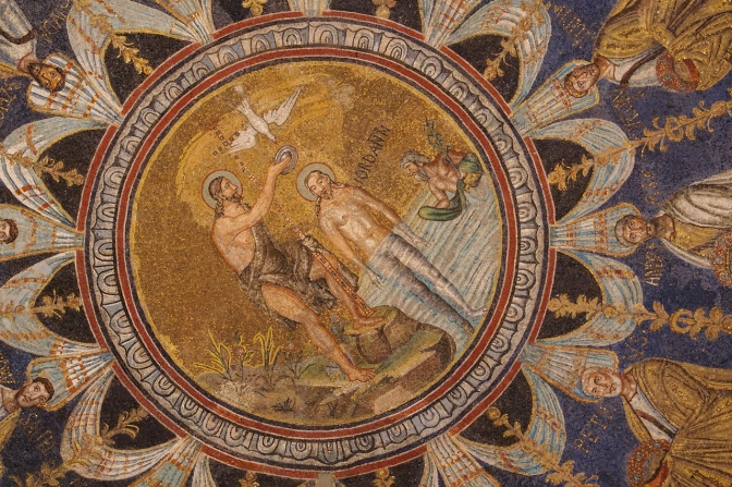 Mosaic of Christ's baptism by John the Baptist.