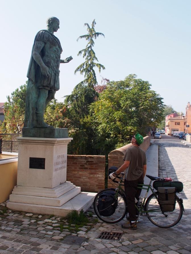 Julius Ceasar statue at the Rubicon River in Savignano Sul Rubicone.
