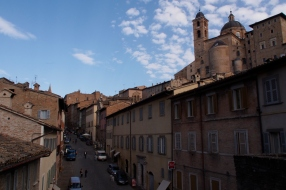 Looking up into Urbino from one of the gates.
