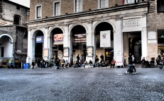 People gathering in Piazza della Republica.