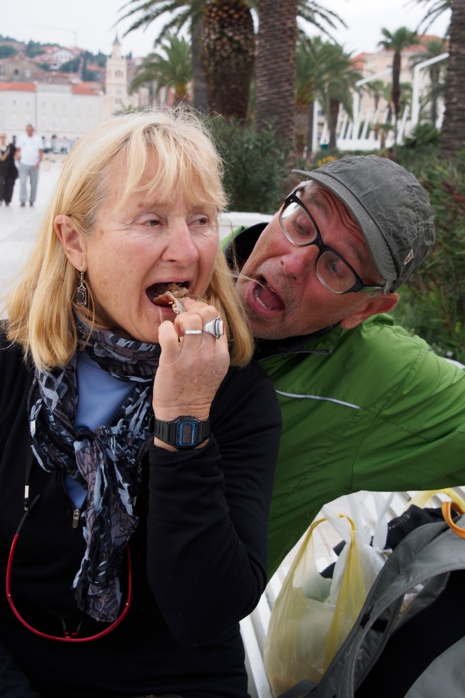 Ivona and Gary enjoying the roast pork.