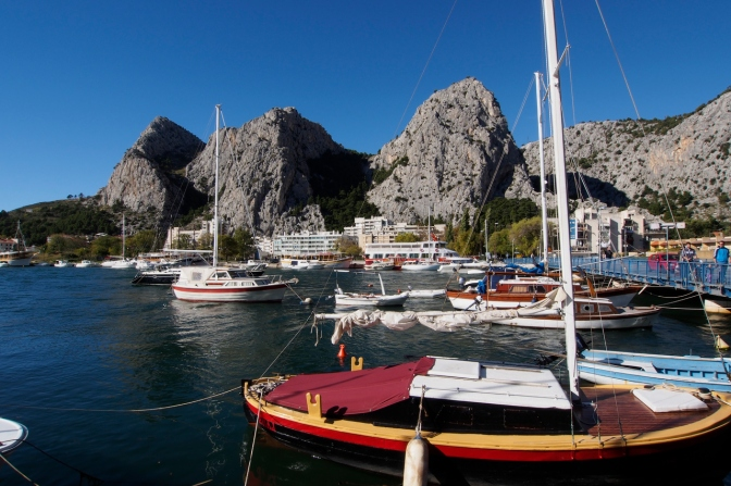 Omiš harbour along the Dalmation coast south of Split.