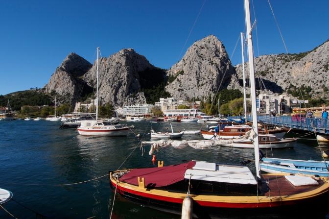 Omiš harbour along the Dalmation coast south of Split.